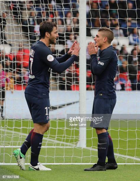 Maxwell and Marco Verratti of Paris SaintGermain react during the French Ligue 1 match between Paris Saint Germain and Montpellier Herault SC at Parc...