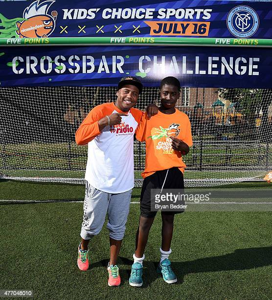 Maxwell and Winner Ommar Fofana attend Nickelodeon New York City FC Host Tryouts For Kids' Choice Sports 2015 'Triple Shot Challenge' at Mullaly Park...