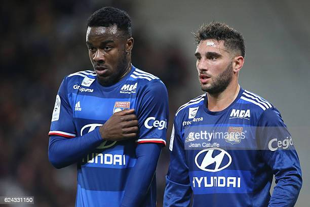 Maxwell Cornet and Jordan Ferri of Lyon in action during the French Ligue 1 match between Lille OSC and Olympique Lyonnais at Stade PierreMauroy on...
