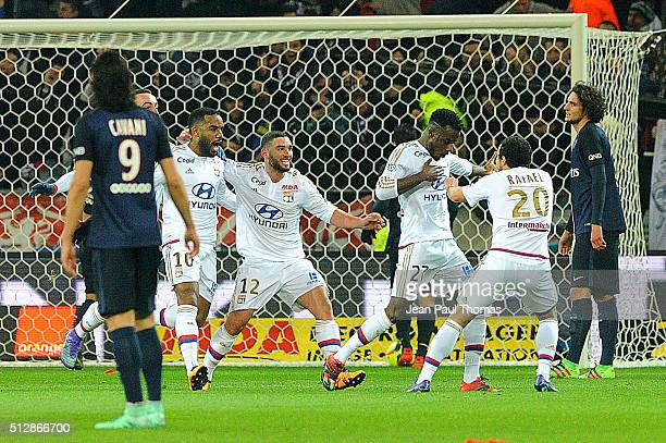 Maxwell CORNET celebrates during the French Ligue 1 match between Olympique Lyonnais v Paris SaintGermain at Stade des Lumieres on February 28 2016...