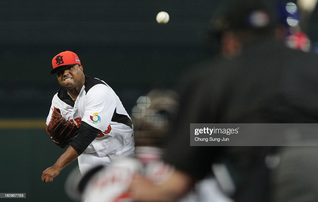 Maxwell Diegomar of Netherlands pitchs in the top of first inning during the World Baseball Classic First Round Group B match between South Korea and the Netherlands at Intercontinental Baseball Stadium on March 2, 2013 in Taichung, Taiwan.