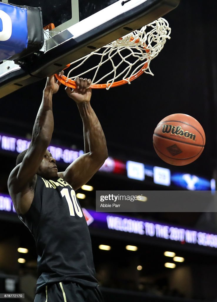 Maxwell Evans #10 of the Vanderbilt Commodores dunks the ball against the Seton Hall Pirates in the second half during their NIT Season Tip Off tournament game at Barclays Center on November 24, 2017 in the Brooklyn brough of New York City.