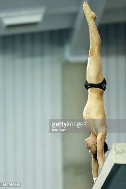 Maxwell Flory of the Dominion Dive Club competes during the Senior Men's Platform Final during the 2017 USA Diving Summer National Championships on...