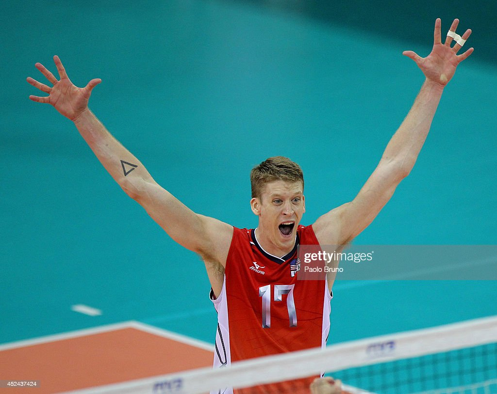 Maxwell Holt of the United States celebrate during the FIVB World League Final Six match for the first place between United States and Brazil at Mandela Forum on July 20, 2014 in Florence, Italy.