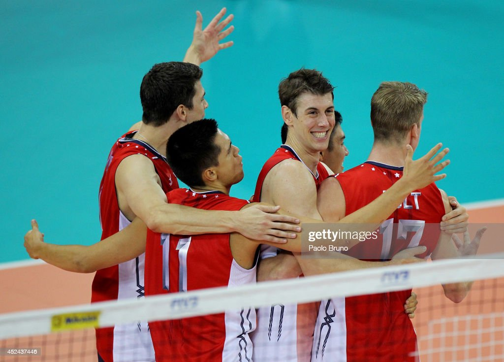 Maxwell Holt #17 with his teammates of the United States celebrate during the FIVB World League Final Six match for the first place between the United States and Brazil at Mandela Forum on July 20, 2014 in Florence, Italy.