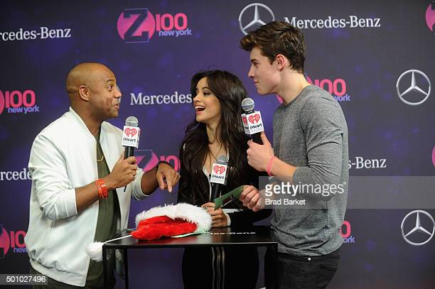Maxwell Jones Camila Cabello and Shawn Mendes attend Z100's Jingle Ball 2015 at Madison Square Garden on December 11 2015 in New York City