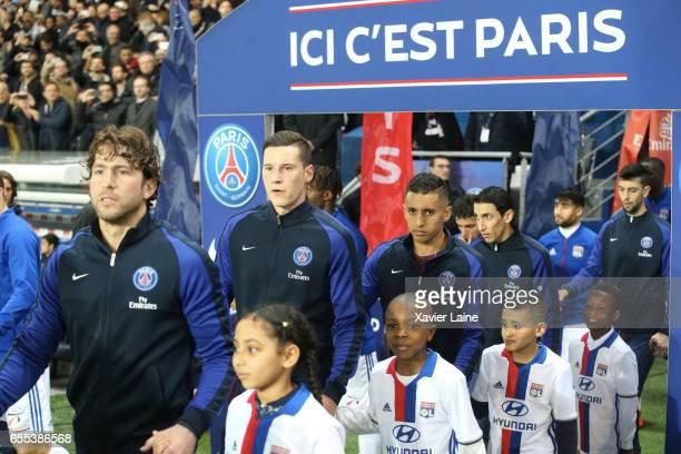 Maxwell Julian Draxler Marquinhos Angel Di Maria and Javier Pastore of Paris SaintGermain before the French Ligue 1 match between Paris Saint Germain...