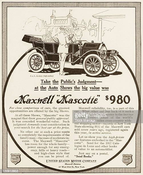 "A Maxwell Mascotte car is shown in a magazine advertisement from 1912 The ad states ""No other car at such a price meets so completely the..."