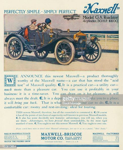 """A Maxwell Model GA Roadster is pictured in a magazine advertisement from 1910 The ad states """"It is a practical car — a utility car — much more than a..."""
