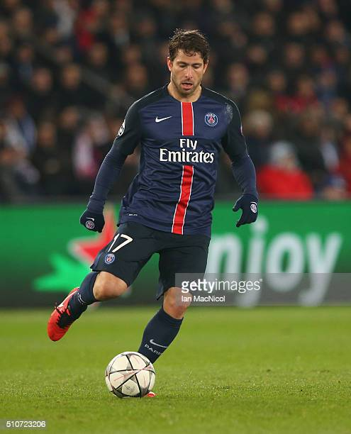 Maxwell of Paris Saint Germain controls the ball during the UEFA Champions League Round of 16 First Leg match between Paris SaintGermain and Chelsea...