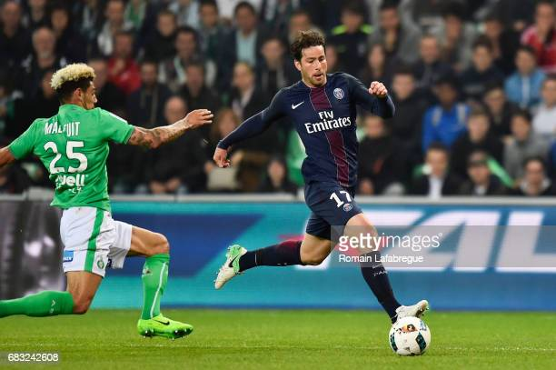 Maxwell of Paris Saint Germain Kevin Malcuit of Saint Etienne during the Ligue 1 match between AS Saint Etienne and Paris Saint Germain Saint Germain...