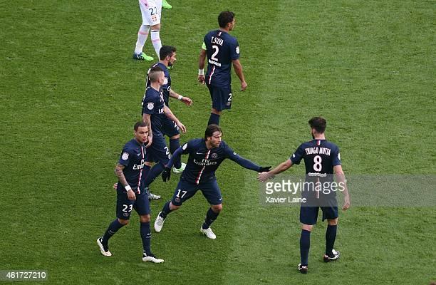 Maxwell of Paris SaintGermain celebrate a goal with team mattes during the French Ligue 1 between Paris SaintGermain FC Evian Thonon Gaillard FC at...
