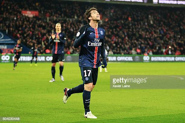 Maxwell of Paris SaintGermain celebrates his goal during the French Ligue 1 between Paris SaintGermain and SC Bastia at Parc Des Princes on january 8...
