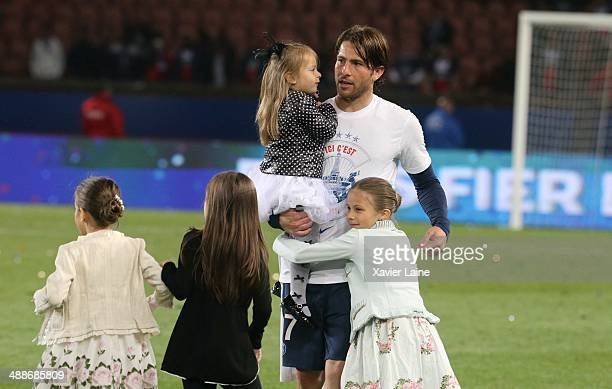 Maxwell of Paris SaintGermain celebrates the victory with his daughters after the French Ligue 1 between Paris SaintGermain FC and Stade Rennais FC...