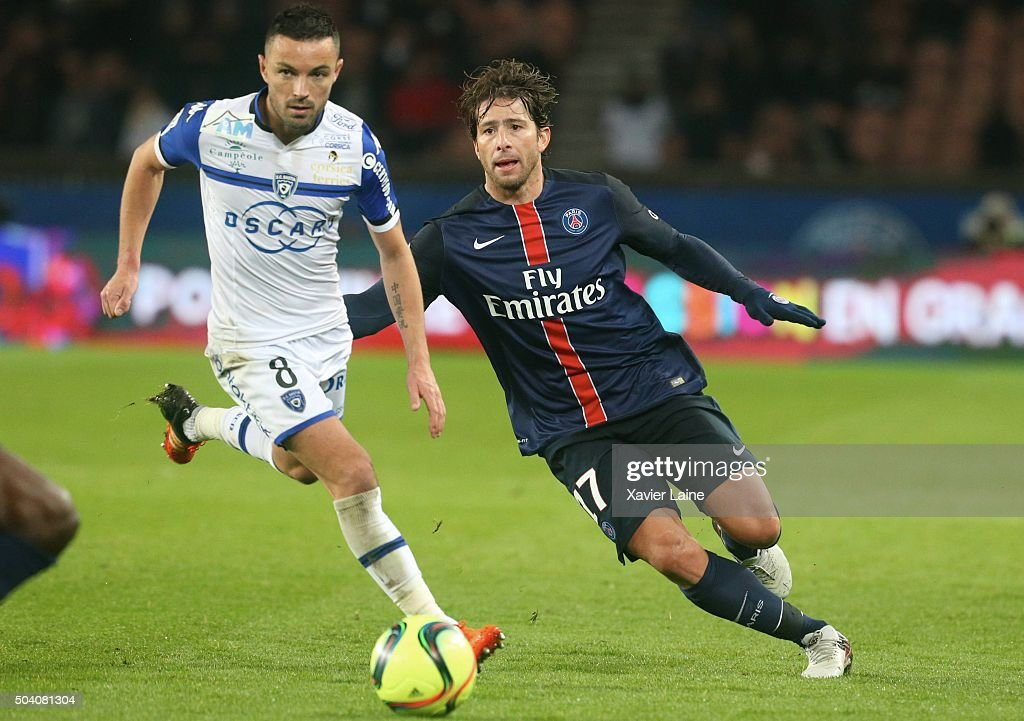 <a gi-track='captionPersonalityLinkClicked' href=/galleries/search?phrase=Maxwell+-+Brazilian+Soccer+Player&family=editorial&specificpeople=546154 ng-click='$event.stopPropagation()'>Maxwell</a> of Paris Saint-Germain <a gi-track='captionPersonalityLinkClicked' href=/galleries/search?phrase=Gael+Danic&family=editorial&specificpeople=650403 ng-click='$event.stopPropagation()'>Gael Danic</a> of SC Bastia in action with during the French Ligue 1 between Paris Saint-Germain and SC Bastia at Parc Des Princes on january 8, 2016 in Paris, France.