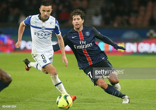 Maxwell of Paris SaintGermain Gael Danic of SC Bastia in action with during the French Ligue 1 between Paris SaintGermain and SC Bastia at Parc Des...