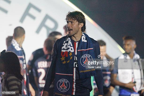 Maxwell of Paris SaintGermain react and celebrates winning the championship after the French Ligue 1 game between Paris SaintGermain FC and Stade de...