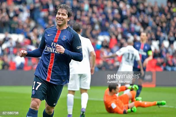 Maxwell of Paris SaintGermain reacts after scoring during the Ligue 1 game between Paris SaintGermain and SM Caen at Parc des Princes on April 16...