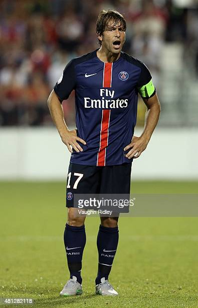 Maxwell of Paris SaintGermain shouts instructions to teammates during the 2015 International Champions Cup match against Benfica at BMO Field on July...
