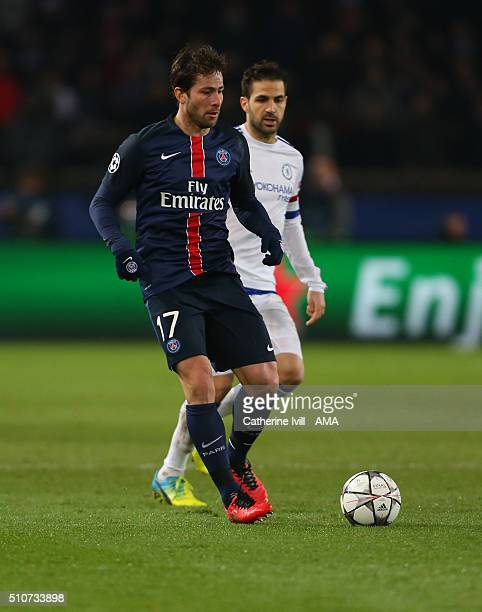 Maxwell of Paris St Germain during the UEFA Champions League match between Paris SaintGermain and Chelsea at Parc des Princes on February 16 2016 in...