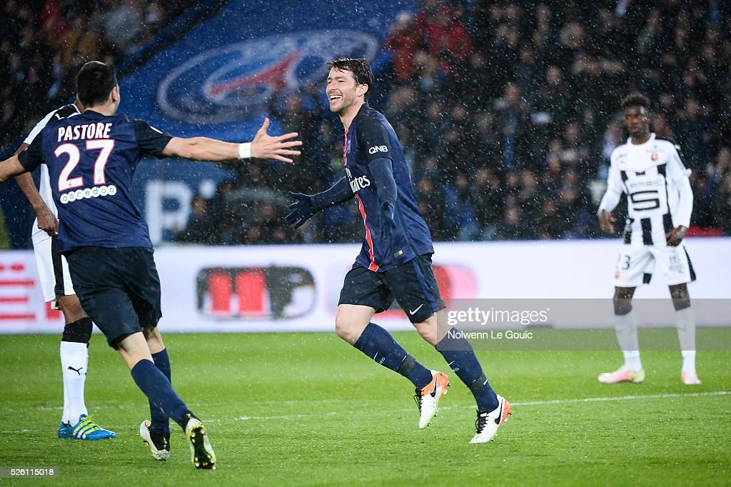 Maxwell of PSG celebrates his goal during the French Ligue 1 match between Paris Saint Germain PSG and Stade Rennais at Parc des Princes on April 29, 2016 in Paris, France.