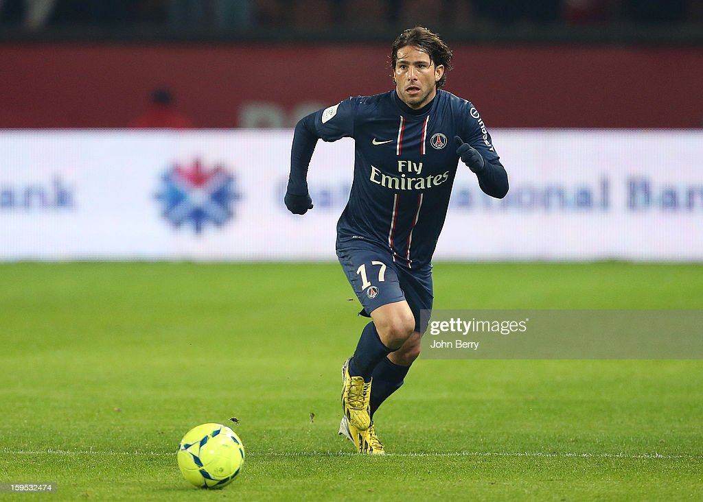 Maxwell of PSG in action during the French Ligue 1 match between Paris Saint Germain FC and AC Ajaccio at the Parc des Princes stadium on January 11, 2013 in Paris, France.