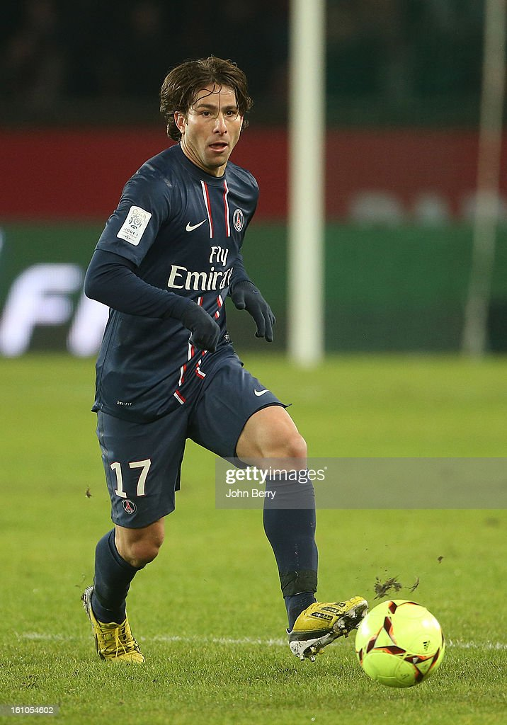Maxwell of PSG in action during the French Ligue 1 match between Paris Saint Germain FC and Sporting Club de Bastia at the Parc des Princes stadium on February 8, 2013 in Paris, France.