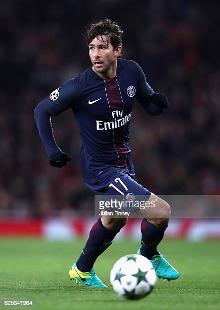 Maxwell of PSG in action during the UEFA Champions League Group A match between Arsenal FC and Paris SaintGermain at the Emirates Stadium on November...