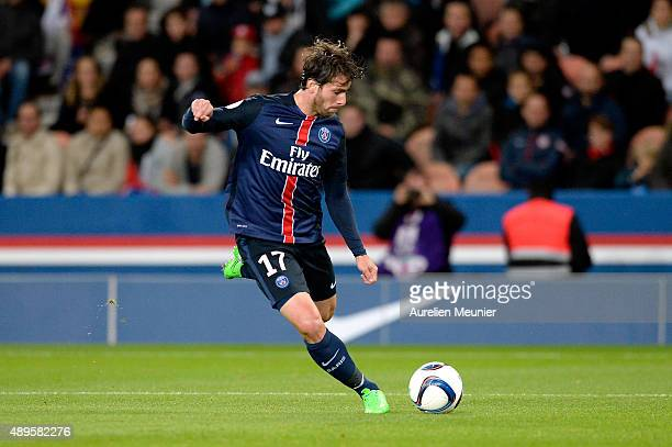 Maxwell of PSG kicks the ball during the Ligue 1 game between Paris SaintGermain and EA Guingamp at Parc des Princes on September 22 2015 in Paris...