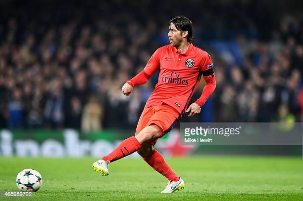 Maxwell of PSG passes the ball during the UEFA Champions League Round of 16 second leg match between Chelsea and Paris SaintGermain at Stamford...