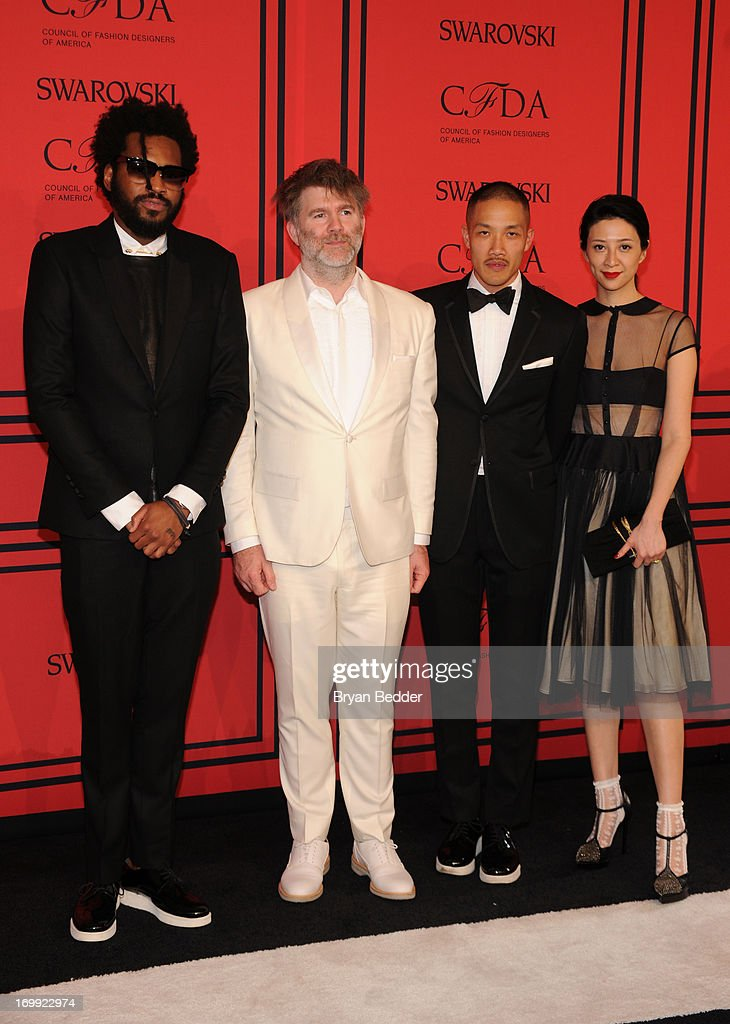 Maxwell Osborne, James Murphy, Dao-yi Chow, and Canis Chow attend 2013 CFDA FASHION AWARDS Underwritten By Swarovski - Red Carpet Arrivals at Lincoln Center on June 3, 2013 in New York City.
