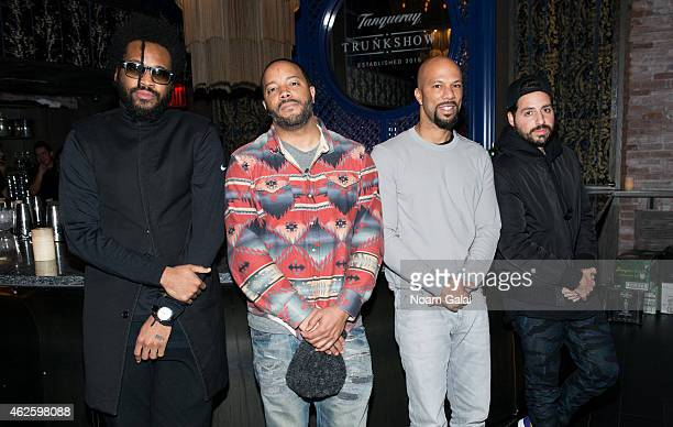 Maxwell Osborne Jason Geter Common and Ronnie Fieg attend the Tanqueray Trunk Show launch event at TAO Downtown Lounge on January 31 2015 in New York...