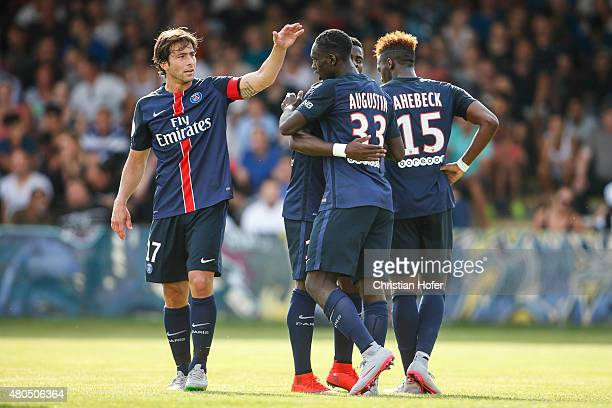 Maxwell Scherrer Cabelino Andrade JeanKevin Augustin and JeanChristophe Bahebeck of Paris SaintGermain celebrate after scoring during the Friendly...