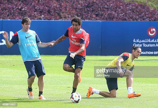 Maxwell Scherrer Marquinhos and Edinson Cavani of PSG in action during day 3 of the Paris SaintGermain Training Camp the Qatar Winter Tour held at...