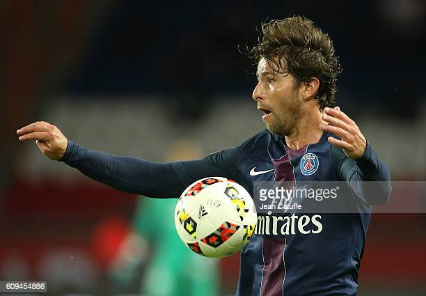 Maxwell Scherrer of PSG in action during the French Ligue 1 football match between Paris SaintGermain and Dijon FCO at Parc des Princes on September...