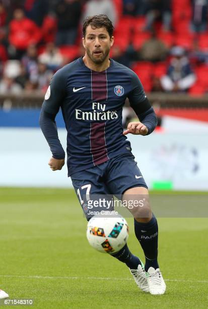 Maxwell Scherrer of PSG in action during the French Ligue 1 match between Paris SaintGermain and Montpellier HSC at Parc des Princes stadium on April...