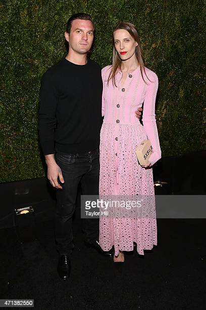 Maxwell Snow and Vanessa Traina attend the 2015 Tribeca Film Festival Chanel Artists' Dinner at Balthazar on April 20 2015 in New York City