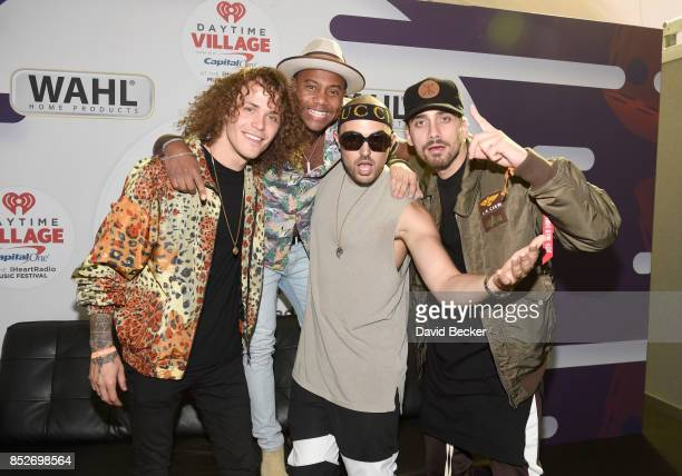 Maxwell with Trevor Dahl Matthew Russell and KEVI of Cheat Codes backstage during the Daytime Village Presented by Capital One at the 2017 HeartRadio...