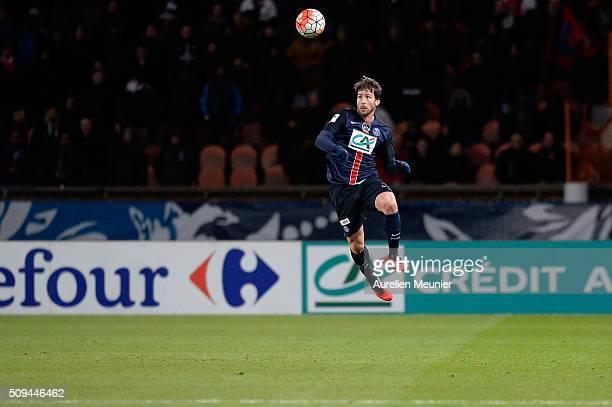 Maxwellof Paris SaintGermain jumps for the ball during the French Cup game between the Paris SaintGermain and Olympique Lyonnais at Parc des Princes...