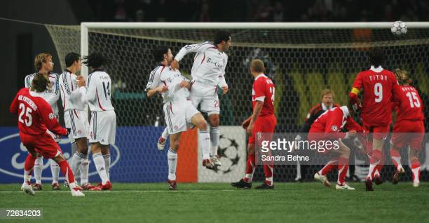 Maxym Kalynychenko of Spartak Moscow scores the opening goal with a free kick during the UEFA Champions League group B match between Spartak Moscow...