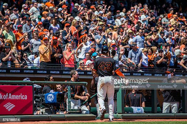 San Francisco Giants right fielder Justin Maxwell scores off a onerun single by San Francisco Giants third baseman Casey McGehee in the 5th inning...