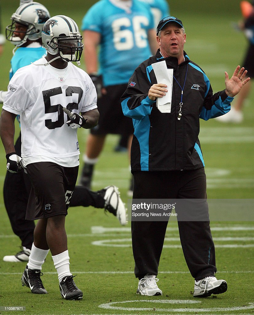 May 04 2007 Charlotte NC USA Carolina Panthers head coach JOHN FOXX and JON BEASON during a morning minicamp on the practice fields at Bank of...