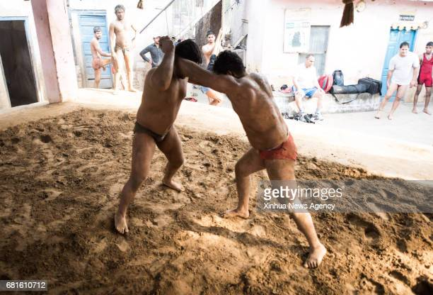 NEW DELHI May 10 2017 Pehlwani wrestlers compete during a training session in Guru Hanuman Akhara training center in New Delhi India May 2 2017...