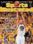 Basketball NBA Playoffs Golden State Warriors Stephen Curry in action shot vs Denver Nuggets at Oracle Arena Game 4 Oakland CA CREDIT Rocky...