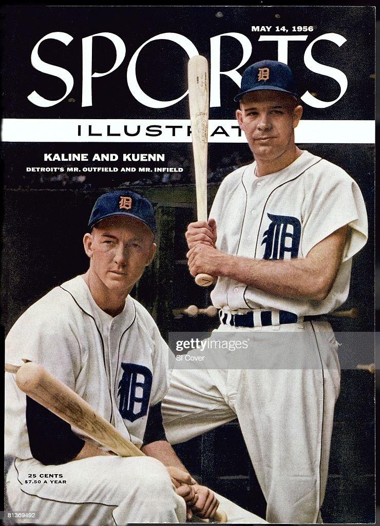 May 14 1956 Sports Illustrated Cover Baseball Portrait of Detroit Tigers Al Kaline and Harvey Kuenn before game vs Chicago White Sox Detroit MI...