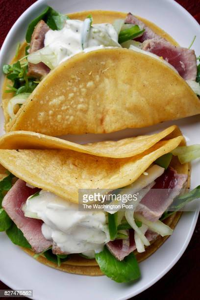 Tuna Tacos With Lime Aioli and HoneydewJicama Slaw photographed on May 14 2014 in Washington DC