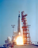 May 15, 1963 - Mercury-Atlas 9 lifts off from its launch pad at Cape Canaveral, Florida for the nation's longest manned orbital flight.