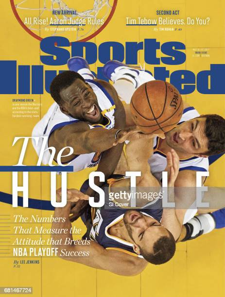 May 15 2017 May 22 2017 Sports Illustrated Cover NBA Playoffs Aerial view of Utah Jazz Rudy Gobert in action vs Golden State Warriors Draymond Green...