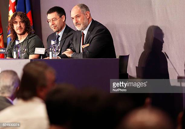 FC Barcelona president Josep Maria Bartomeu and Andoni Zubizarrera in the Carles Puyol farewell ceremonyl held in the Auditorium 1899 of the FCB the...