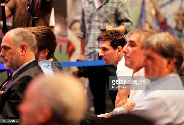 Leo Messi in the Carles Puyol farewell ceremonyl held in the Auditorium 1899 of the FCB the May 15 2014 Photo Joan Valls/Urbanandsport/Nurphoto